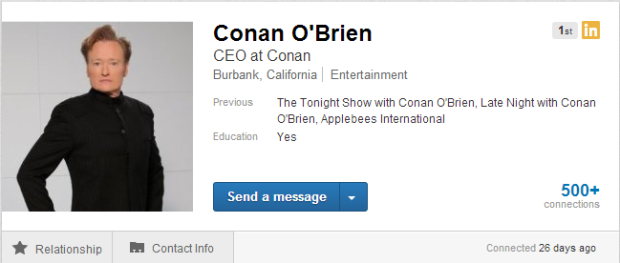 Conan O'Brien's profile on LinkedIn